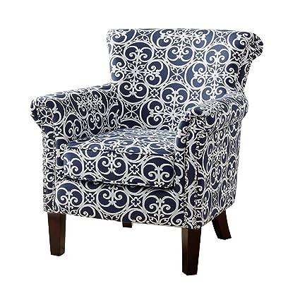 Fabulous Amazon Com Modhaus Living Contemporary Navy Blue And White Creativecarmelina Interior Chair Design Creativecarmelinacom