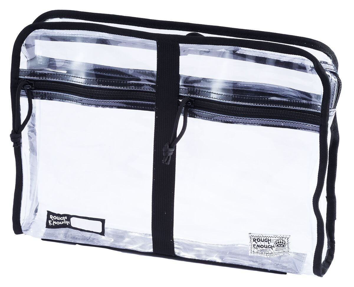 Rough Enough Durable A4 Transparent Clear Classic Multi-functional Big Document Pouch Case Holder Folder Organizer with 2 Zipper pockets on front for School University Business Travel Trip,Black