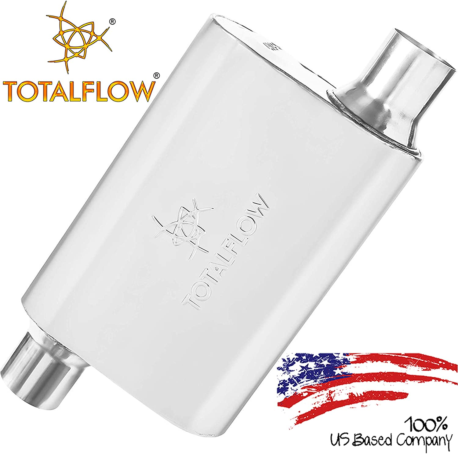 TOTALFLOW Black 3 Center In//3 Center Out 443015 409 Stainless Steel Single Chamber Universal Muffler 3 Center Out