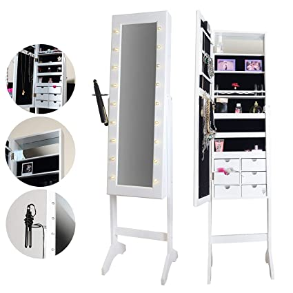 Icecreamliving Zoey Standing Full Length Jewellery Mirror Cabinet