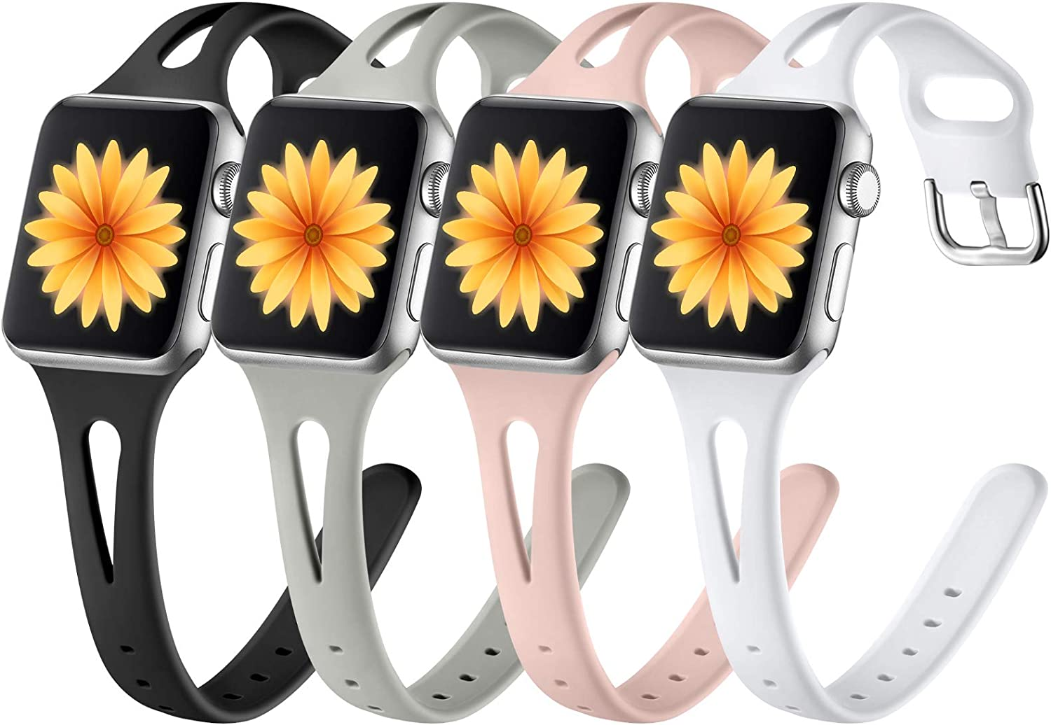 GEAK 4 Pack Compatible with Apple Watch Band 40mm Women iWatch SE & Series 6 5 4 3 2 1, Soft Slim Silicone Sport Accessories Strap for Apple Watch Band 38mm Women Men Balck/Gray/White/Sand Pink