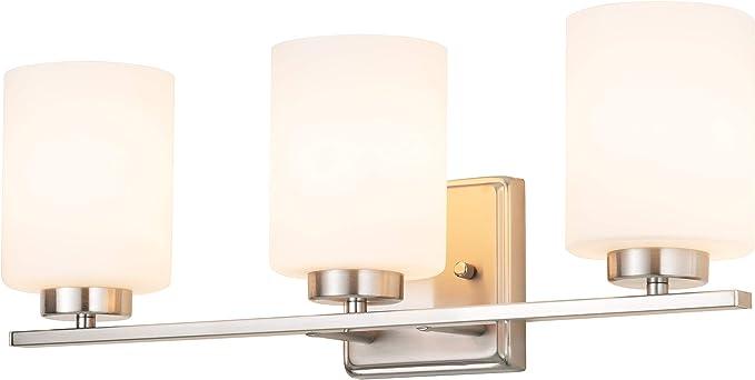 Kingbrite 3 Bulb E26 Vanity Light Fixture Bathroom Lighting White Glass Shade Brushed Nickel Amazon Com