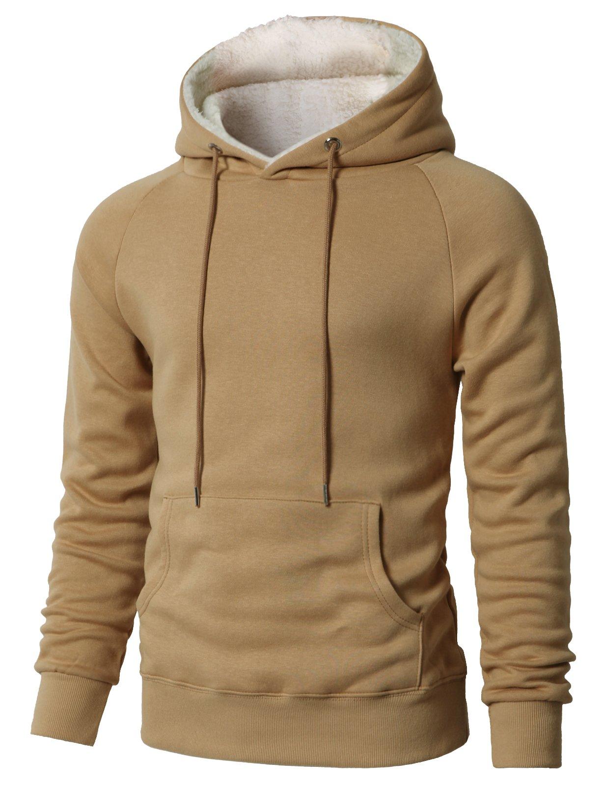 H2H Men's Fine Quality Plush Fleece Lined Pullover Beige US L/Asia XL (KMOHOL0126) by H2H (Image #1)