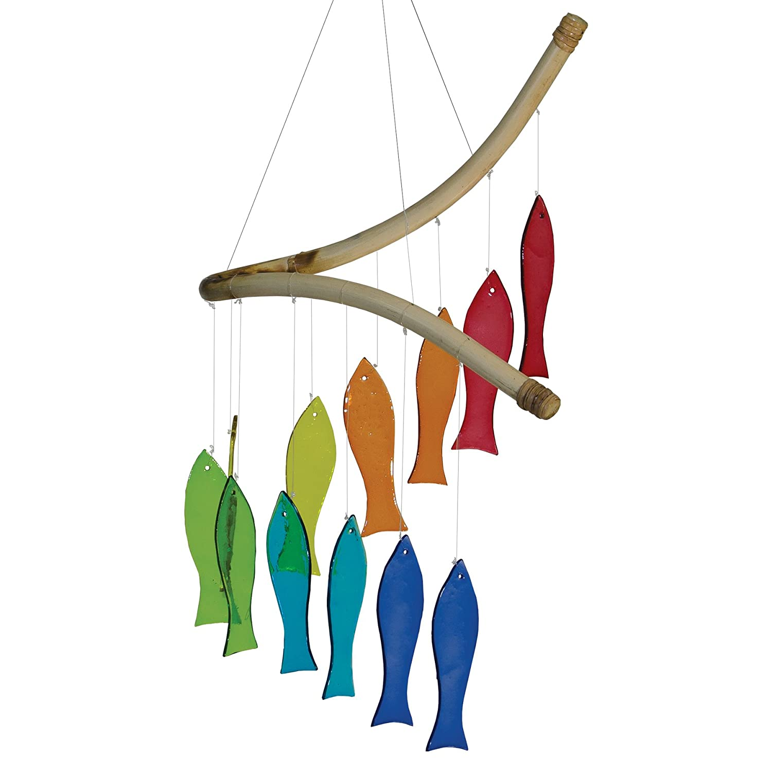 In the Breeze Rainbow Fish Glass Mobile Wind Chime - Colorful Hanging Suncatcher - Hanging Glass Decoration 7009