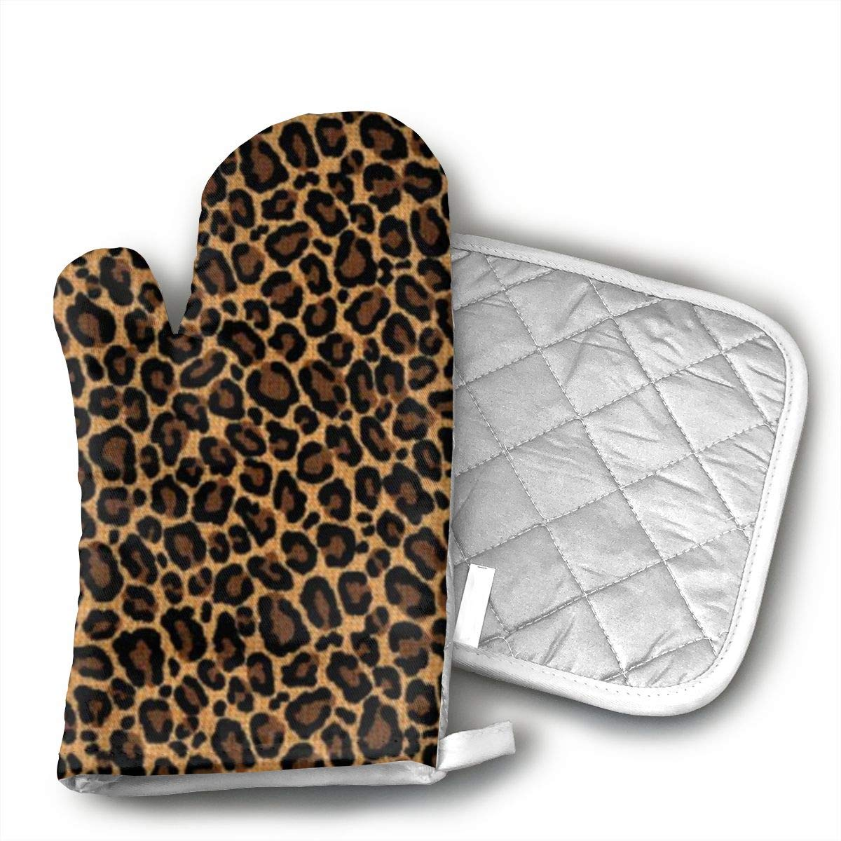 HGUIDHG DVIKH Leopard Skin Oven Mitts+Insulated Square Mat,Heat Resistant Kitchen Gloves Soft Insulated Deep Pockets, Non-Slip Handles