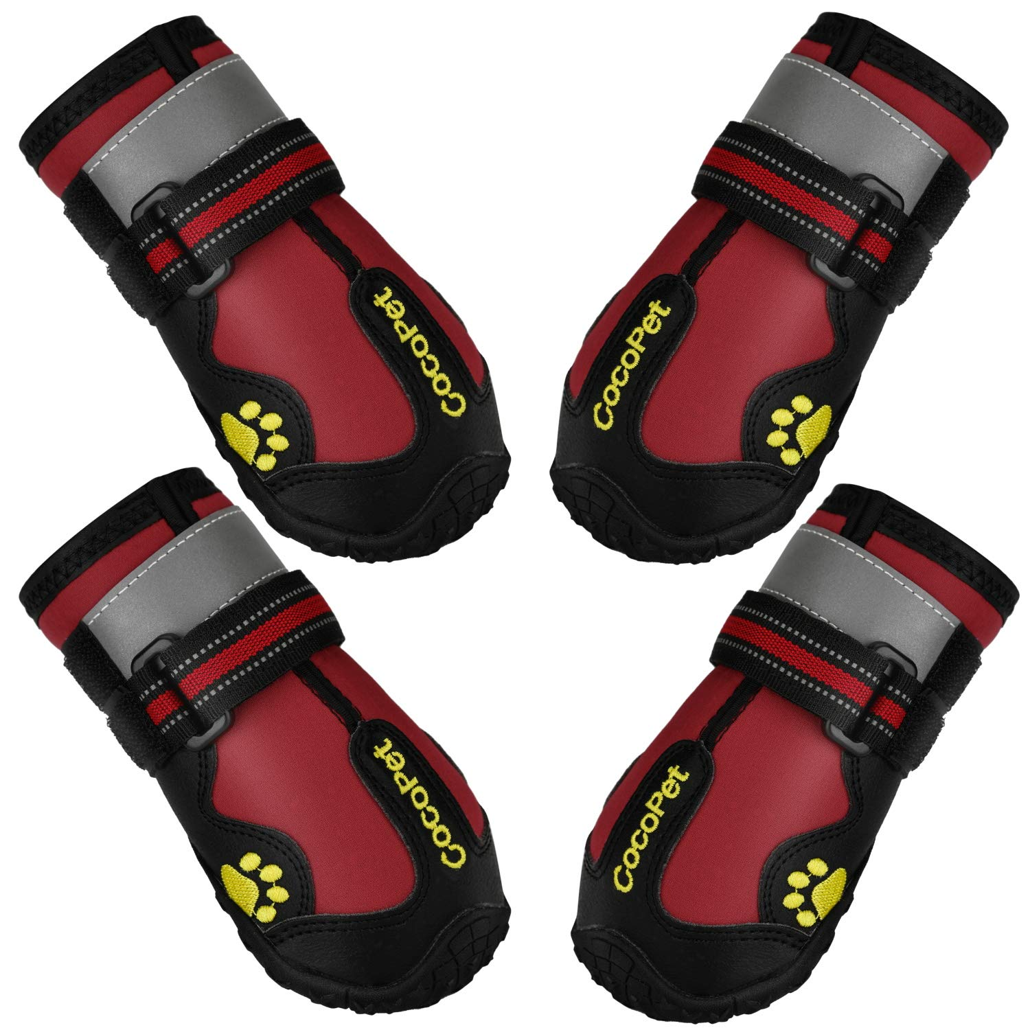 COCOPET Waterproof Dog Boots for Medium Large Dogs with Safe Reflective Velcro Rugged Anti-Slip,Running Dog Shoes for Paw Protection 4 PCS by cocopet