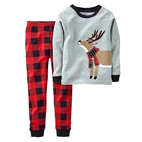 boys christmas pyjamas set kids xmas pjs toddler girls santa clothes 2 pieces long sleeve sleepwear - Childrens Christmas Pyjamas