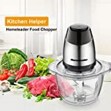 Electric Food Chopper, 5-Cup Food Processor by Homeleader, 1.2L Glass Bowl Grinder for Meat, Vegetables, Fruits and Nuts…