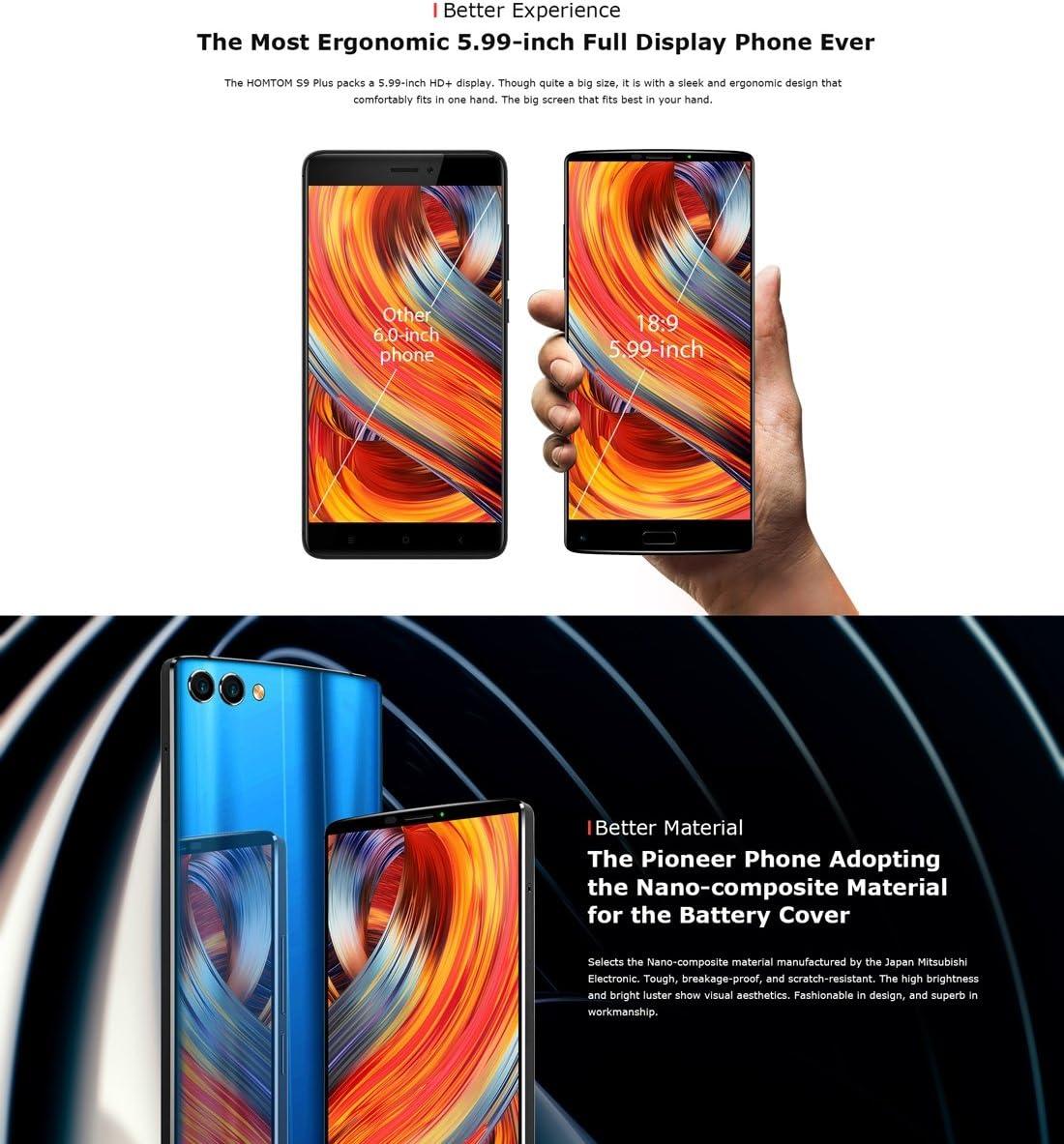 HOMTOM S9 Plus - Smartphone libre 4G + 64GB Huella Dactilar ID ...