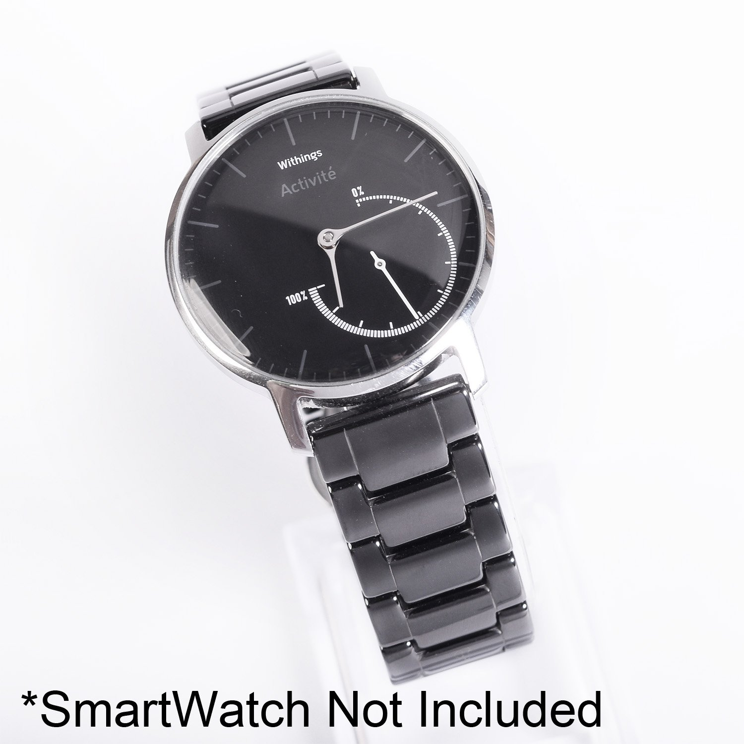 KR-NET 18mm Ceramic Watch Strap Band Bracelet Deluxe Smooth Wristband for Withings Activité Pop Steel HR (Black)