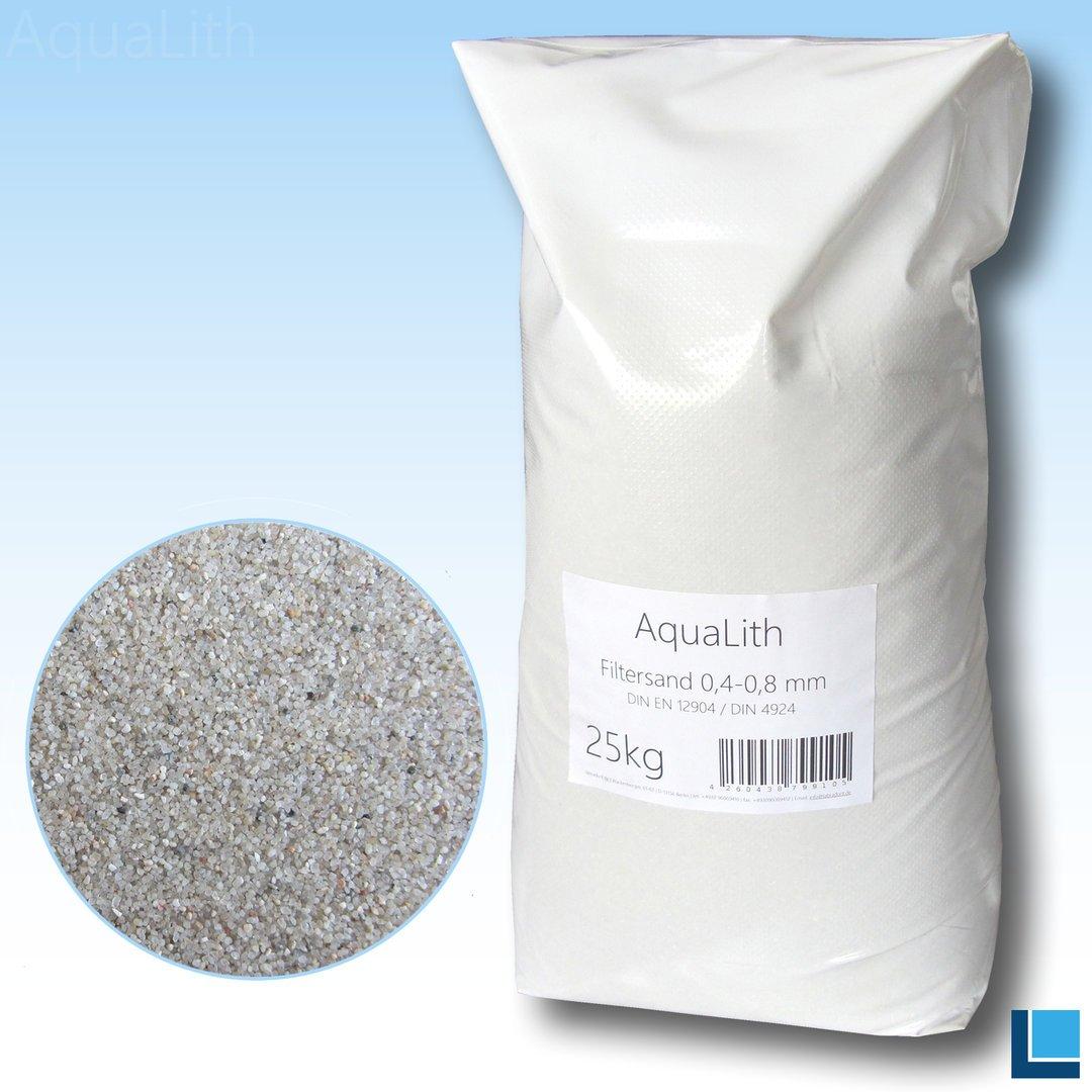 AquaLith Filterquarzsand 25 kg 0,4-0,8 mm Filtersand Quarzsand Sandfilter Pool