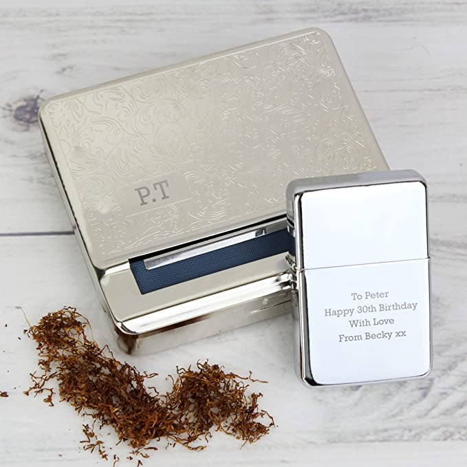 Engraved Personalised Tobacco Tin with Papers Holder Enter Your Custom Text