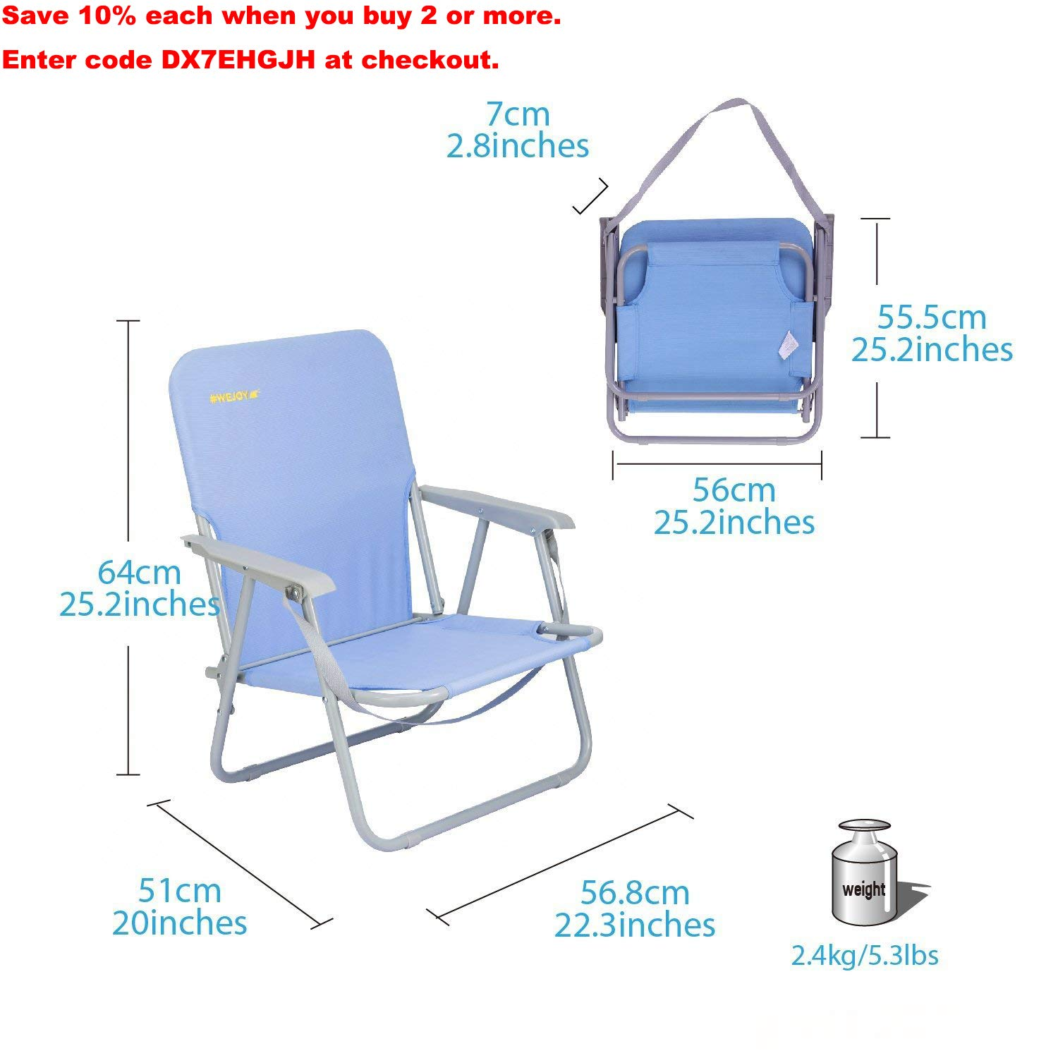 WEJOY Lightweight Portable Folding Outdoor Lawn Camp Beach Chair with Shoulder Strap Pocket, Low High Seat, Blue
