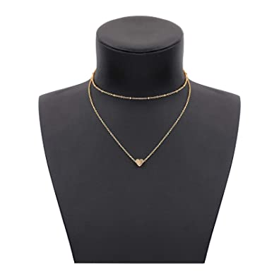 767e81466cb Amazon.com: Zealmer Simple Heart Necklace Double Layer Gold Heart Choker  Necklace Gift for Her and Lover: Jewelry