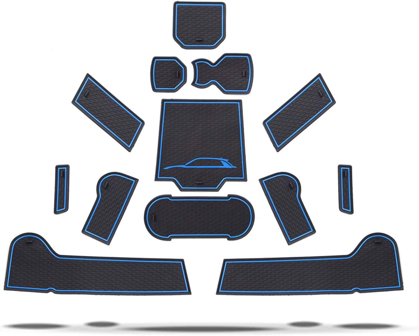 T/ür Becherhalter Slot Matten Auto Innere T/ürschlitz Arm Box Aufbewahrung Matten Pads Gummi Antirutschmatten Rot RUIYA t-ROC Antirutschmatten