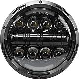 """Wisamic 7"""" 80W LED Scheinwerfer Daymaker Frontscheinwerfer Angel Eyes mit Amber Signal Halo DRL Led für Harley Davidson Motorräder (Schwarz)"""