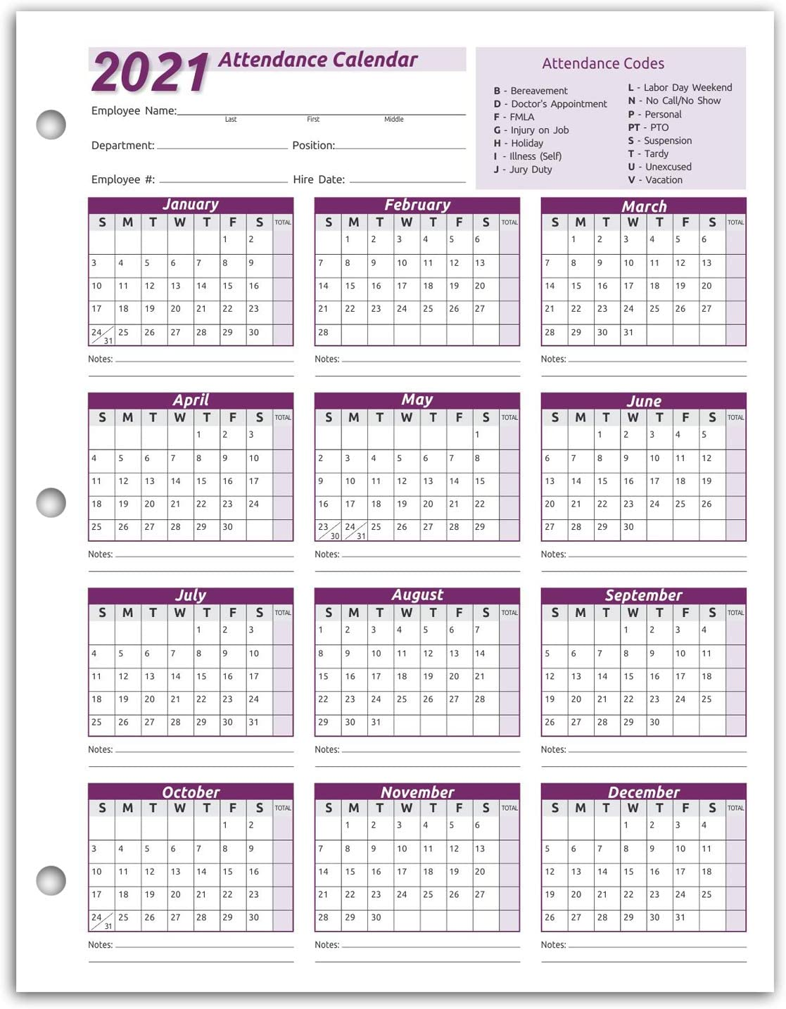 Amazon.: Work Tracker Attendance Calendar Cards  8 ½ X 11