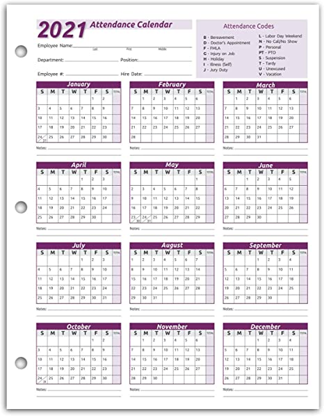 2022 Attendance Calendar Printable Free.Amazon Com Work Tracker Attendance Calendar Cards 8 X 11 Cardstock Pack Of 25 Sheets 2021 Office Products