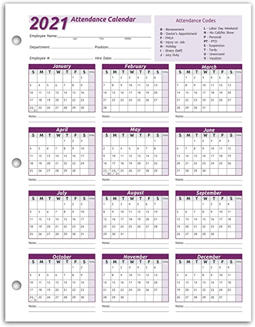 Attendance Calendar 2022.Amazon Com Work Tracker Attendance Calendar Cards 8 X 11 Cardstock Pack Of 25 Sheets 2021 Office Products