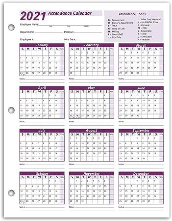 2021 Attendance Calendar Amazon.: Work Tracker Attendance Calendar Cards  8 ½ X 11