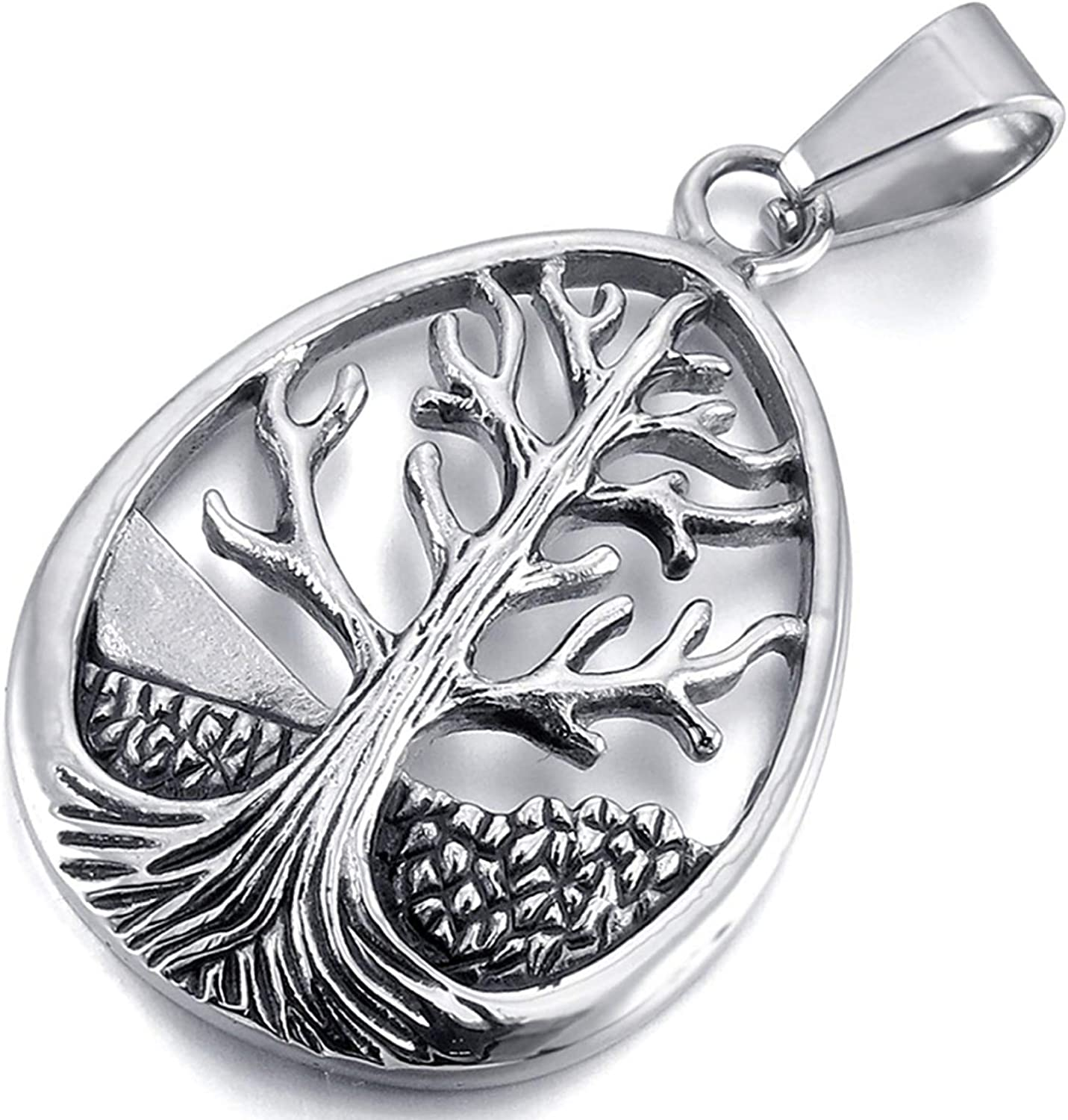 HAMANY Mens Womens Celtic Tree of Life Stainless Steel Pendant Necklace Silver with 22 Inch Chain