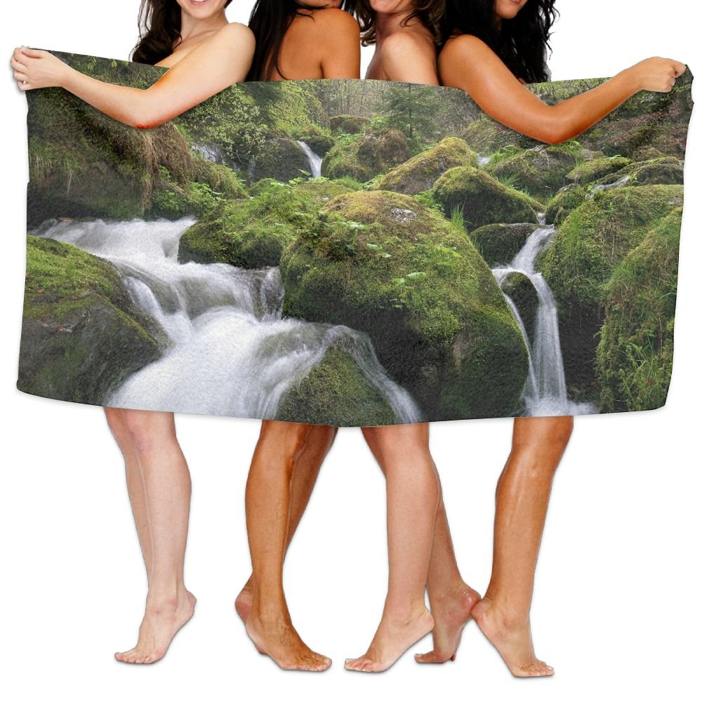 PengMin Stream Nature Moss Wood Premium 100% Polyester Large Bath Towel, Pool And Bath Towel (80'' X 130'') Natural, Soft, Quick Drying
