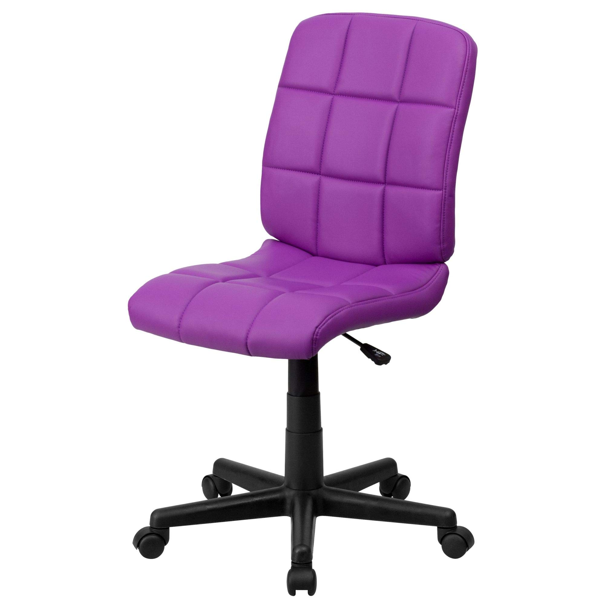 Delacora GO-1691-1-PUR-GG 23 Inch Wide Vinyl Swivel Task Chair