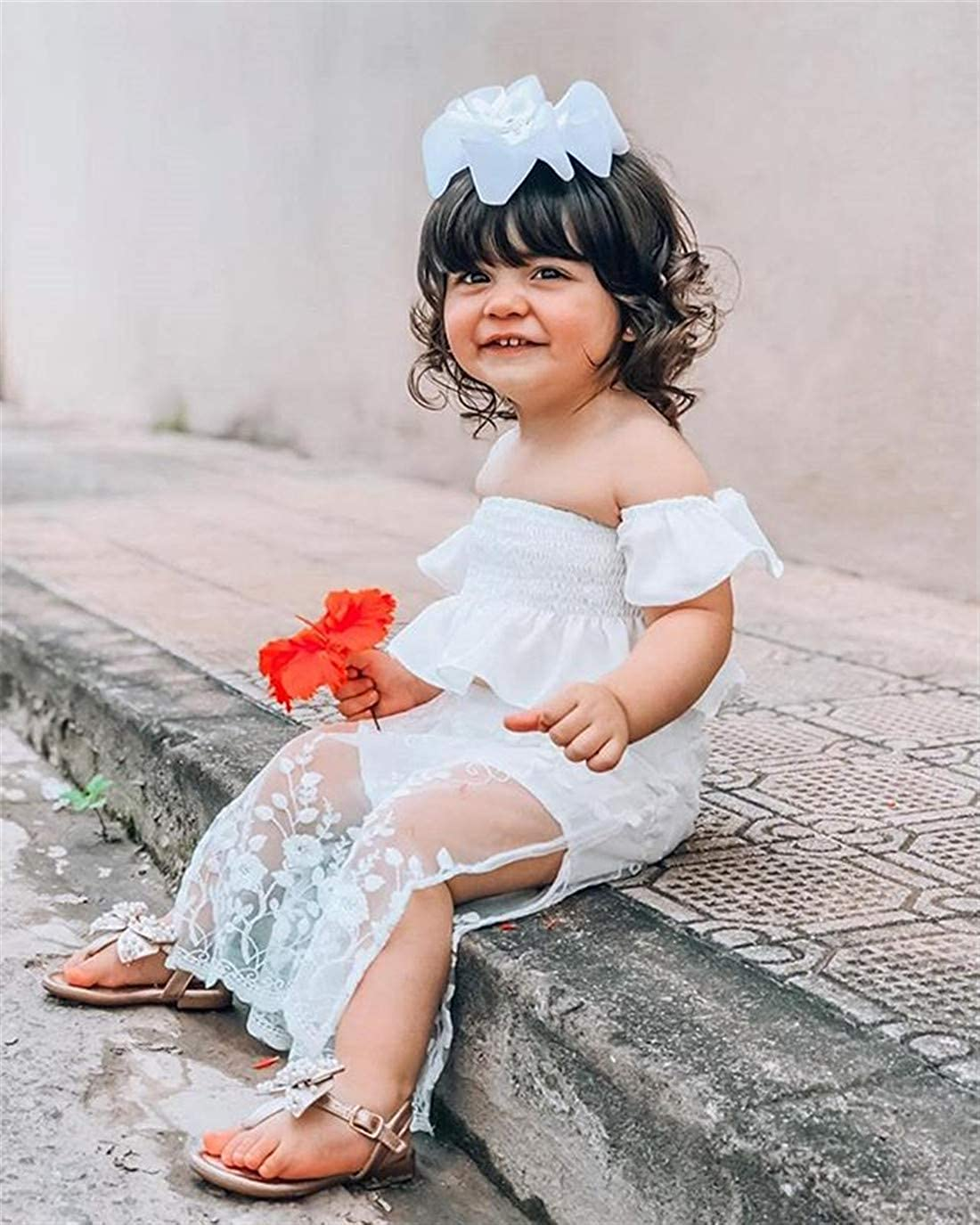Kids Baby Girls Off-Shoulder Ruffled Crop Tops Lace Skirts Shorts 2pcs Outfit Girls Summer Clothes Wedding