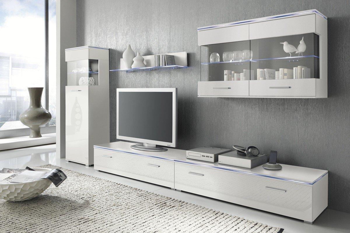 Design wohnwand anbauwand weiß grau  Wohnwand Anbauwand weiß, Fronten weiß hochglanz, optional LED ...