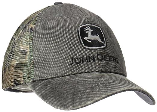 dbf21820e4d John Deere Mens Waxed Cotton Camo Mesh Baseball Cap - Gray -  Amazon.co.uk   Clothing