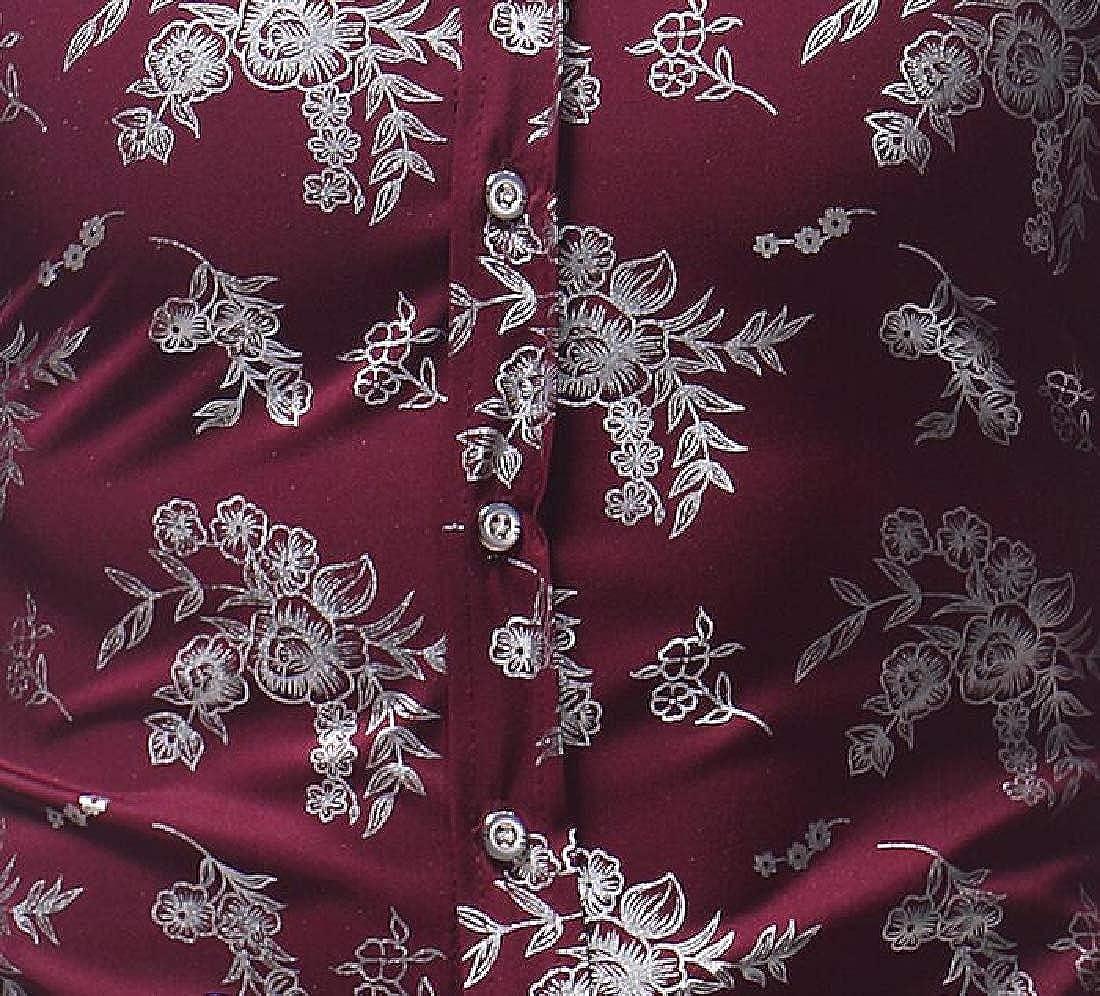 Fubotevic Men Shirts Loose Printing Button Up Long Sleeve Casual Dress Shirts