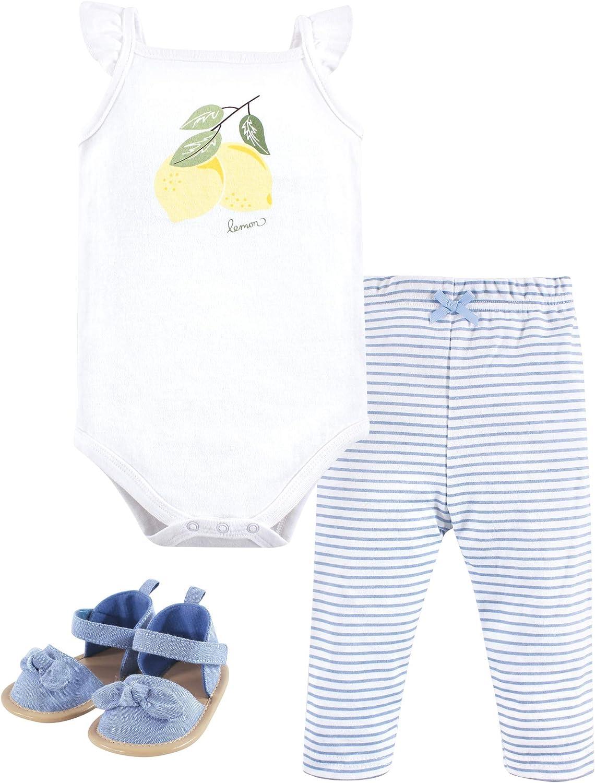 Hudson Baby Baby Cotton Bodysuit, Pant and Shoe Set, Lemon, 12-18 Months