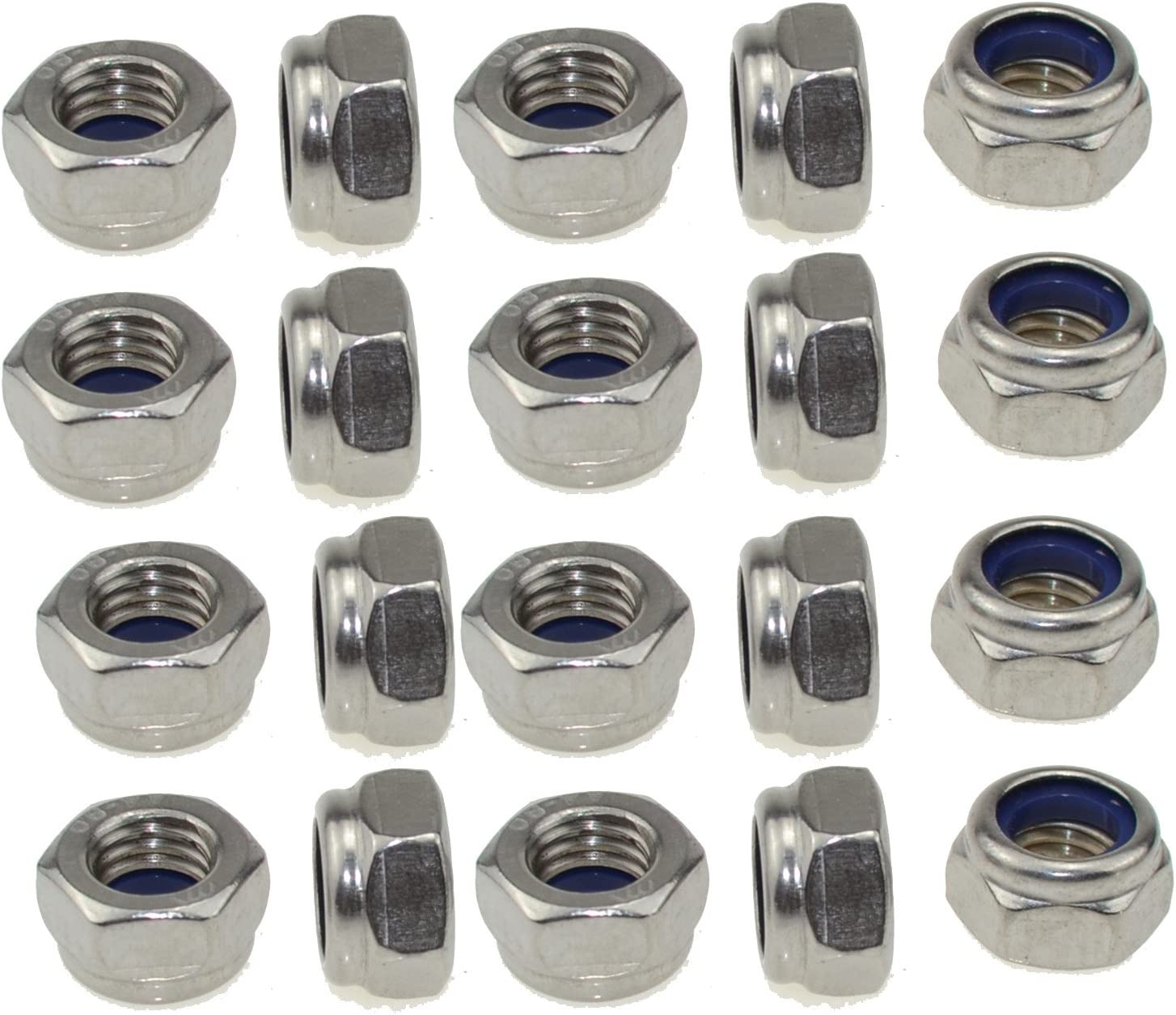 uxcell M8x1.25mm 304 Stainless Steel Nylock Nylon Insert Hex Lock Nuts 25pcs
