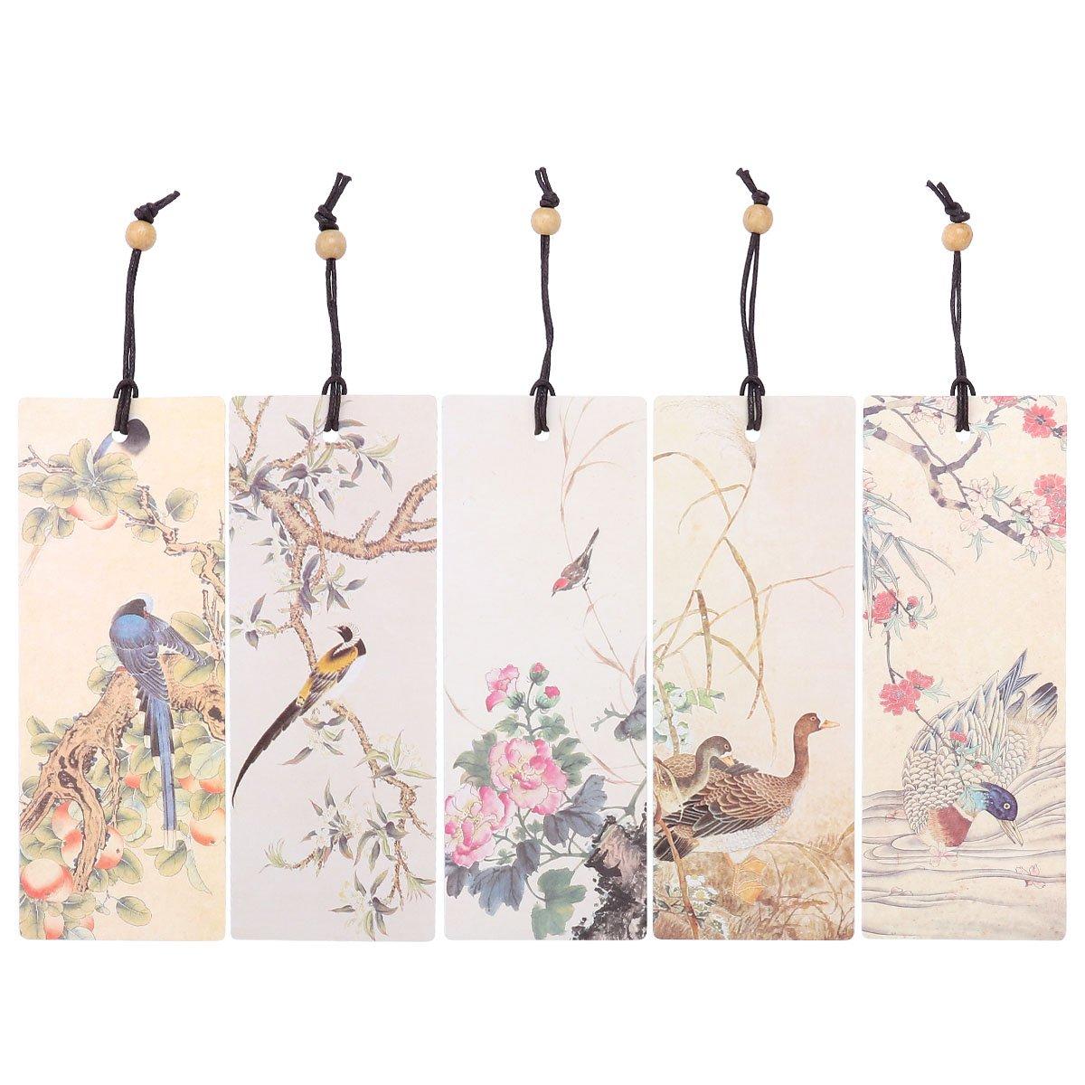 NUOLUX 5piezas cuentas marcador de pintura al óleo Bookmarkers página marcador de nota libro, Flower Bird Patterned, talla única
