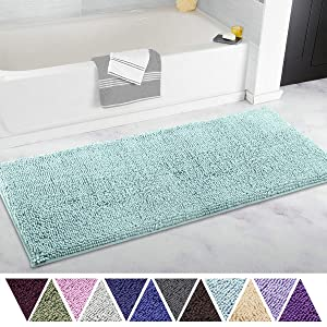 ITSOFT Non Slip Shaggy Chenille Soft Microfibers Runner Large Bath Mat for Bathroom Rug Water Absorbent Carpet, Machine Washable, 21 x 47 Inches Spa Blue