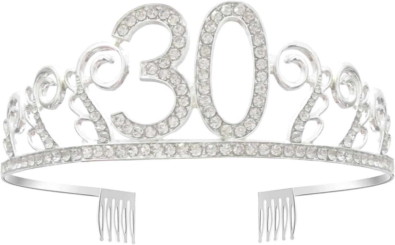 30th Birthday Headband Hot Pink//Glitter Silver 30 Years Party Tiara 30th Birthday Gifts Birthday Party Accessories
