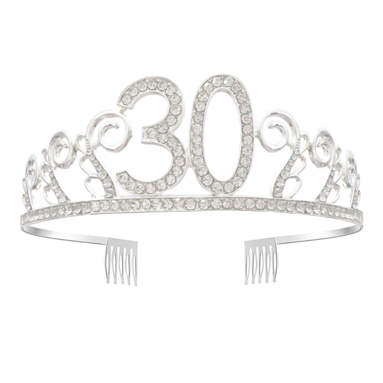 Greestore 30th Birthday tiara Crown Sweet strass di cristallo corona fascia per 30th Celebration Princess Crown party accessori