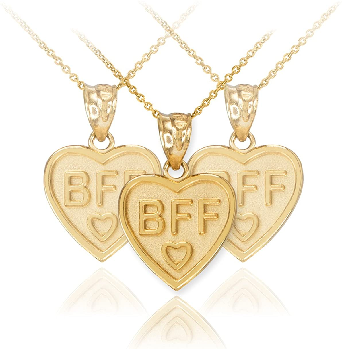 10kt Two-tone Gold Womens Textured Best Friends Break Apart Double Hearts Charm Pendant