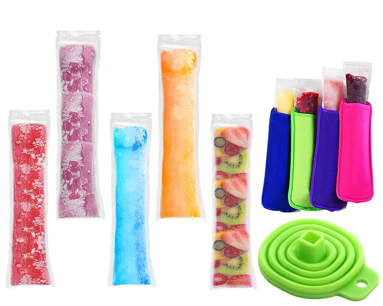 100 Pack Ice Popsicle Molds Bags - Zip-Top Disposable DIY Ice Pop Mold Bags - Summer Ice Pop Pouch with 4 Ice Pop Sleeves & 1 Silicone Funnel for Yogurt, Ice Candy, Otter Pops, Gogurt, or Freeze Pops NM