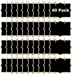 Mini Chalkboard Sign Hanging - 40 Pack Double Sided Chalkboards with Hanging String, Small Resuable Wood Message Board Signs for Food Labels, Price Tags, Wedding, Birthday Party Decorations