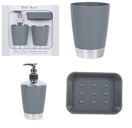 MD MUZ Juego de baño de 3 piezas, color gris mate, metálico, incluye