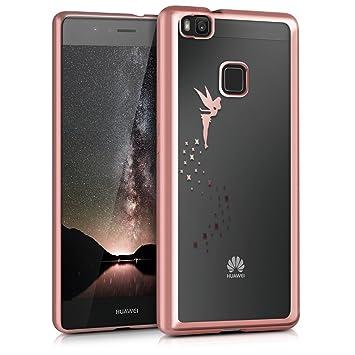 kwmobile Funda para Huawei P9 Lite - Carcasa [Trasera] de [TPU] con diseño de Hada en [Oro Rosa/Transparente]