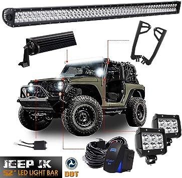 "2007-Now Jeep Wrangler JK 52/"" LED Light Upper Roof Windshield Mounting Bracket"