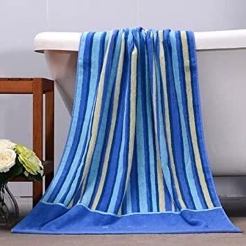 Wddwarmhome toalla de baño de rayas azules algodón bordado toallas absorbentes pareja de hombres y mujeres toallas de baño conjunto 2: Amazon.es: Hogar