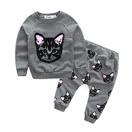 be855f61bd6f6 Little Lass Toddler Girl Clothes,YJM Long Sleeve Cats Print Tracksuit  +Pants Outfits Set