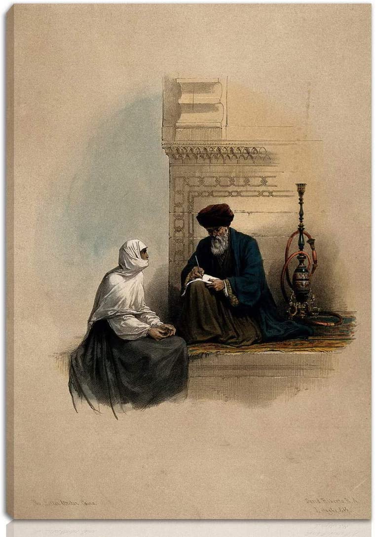 Berkin Arts Louis Haghe Stretched Giclee Print On Canvas-Famous Paintings Fine Art Poster-Reproduction Wall Decor Ready to Hang(A Coptic Christian Woman Dictating A Letter to A Scribe CAI)#NK
