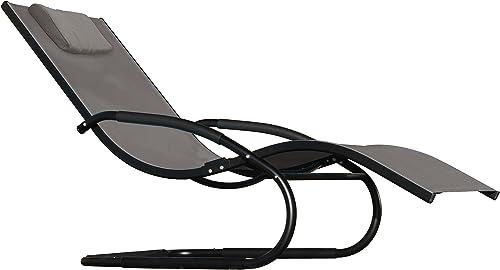 Vivere Aluminum Wave Lounger, Black Chrome