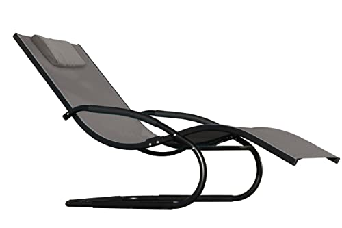 Vivere Aluminum Wave Lounger, Black Chrome