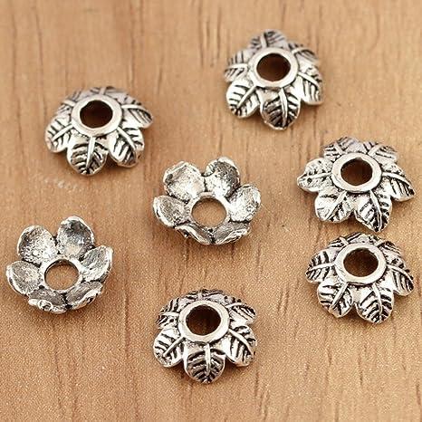 100PCS Tibetan Style Bead Caps Metal End Caps Bead Cones Antique Silver 8mm