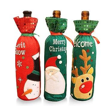 MMTX 3 Unids Navidad Vino Rojo Papá Noel Bolsas de Cubiertas de Botellas de Vino Tinto de Navidad Cordón Tela No Tejida Cena de Mesa Decoración del ...